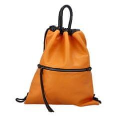 Phil Štýlový dámsky koženkovy batoh Iriaka, oranžový