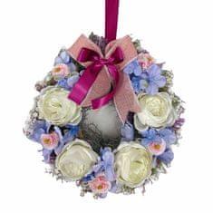 RK Dekorace Závěsný květinový věnec z bílých pivoněk 28 cm