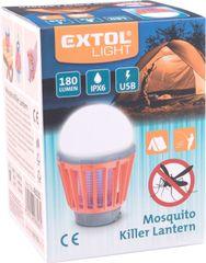 Extol Light lucerna turistická s lapačem komárů, 180lm, USB nabíjení, 3x 1W LED