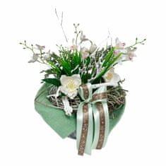 RK Dekorace Jarní dekorace v kulatém plecháčku s proutěným hnízdem, čemeřicí a orchidejemi 36 cm