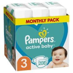 Pampers Plienky Active Baby 3 Midi (6-10 kg) Mesačné balenie - 208 ks
