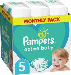 Pampers Pleny Active Baby 5 Junior (11-16 kg) Měsíční balení - 150 ks