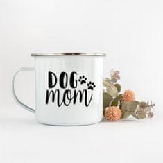 Domovi Bílý smaltovaný plecháček s nápisem Dog Mom 360ml