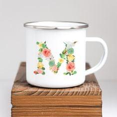 Domovi Bílý smaltovaný hrníček plecháček s písmenem z květin 360ml Písmeno: A
