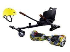 """Aboard hoverboard 6,5"""" Graffiti Bluetooth s hoverkartom + Prilba zdarma Prilba: žltá prilba"""