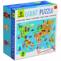 Ludattica Obří podlahové puzzle - Ludattica - Mapa světa - 48 dílů