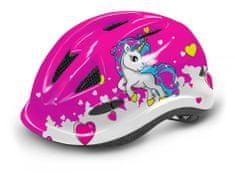 R2 Dětská cyklistická přilba LUCKY s blikačkou (ATH21B) - růžová s jednorožcem