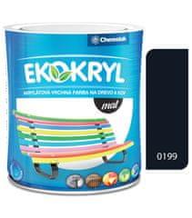 Chemolak Ekokryl Mat V2045 0199 čierna 0,6l - vrchná akrylátová farba na drevo a kov