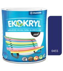 Chemolak Ekokryl Mat V2045 0455 tmavo modrá 0,6l - vrchná akrylátová farba na drevo a kov