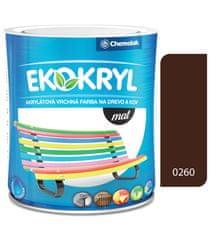 Chemolak Ekokryl Mat V2045 0260 hnedá 0,6l - vrchná akrylátová farba na drevo a kov