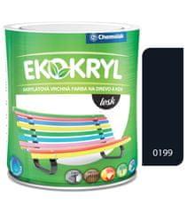 Chemolak Ekokryl Lesk V2062 0199 čierna 0,6l - vrchná akrylátová farba na drevo a kov