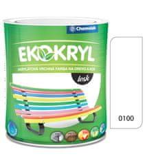 Chemolak Ekokryl Lesk V2062 0100 biela 0,6l - vrchná akrylátová farba na drevo a kov