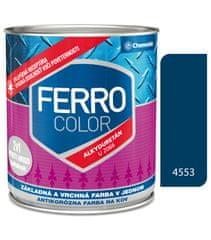 Chemolak Ferro Color U2066 4553 tmavomodrá 0,3l pololesk - základná a vrchná farba na kov