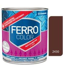 Chemolak Ferro Color U2066 2430 hnedá 0,75l pololesk - základná a vrchná farba na kov