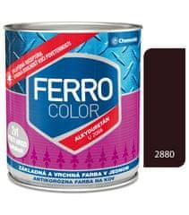 Chemolak Ferro Color U2066 2880 tmavohnedá 2,5l pololesk - základná a vrchná farba na kov