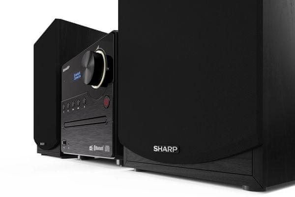 elegantní mikrosystém sharp xl-b517 bluetooth cd mechanika aux in usb přehrávání fm dab plus tuner výkon 40 w dva externí reproduktory digital radio tick ekvalizér pro úpravu zvuku