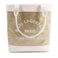KARL LAGERFELD kids Dievčenská plážová taška so slameným dizajnom biela KARL LAGERFELD -Karl Lagerfeld Kids