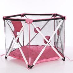 Tavalax Otroški prenosni manež z mrežico, roza