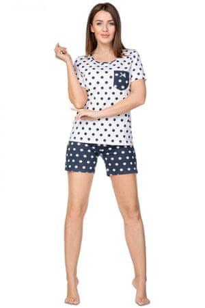 Női pizsama Granatowa + Nőin zokni Gatta Calzino Strech, fehér, XL