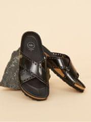 OJJU černé dámské kožené pantofle