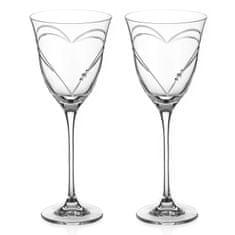 Diamante Beloved Hearts dva poháre na červené víno