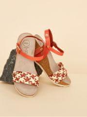 OJJU béžovo-červené dámské sandálky na klínku JJU