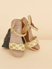 OJJU béžovo-zelené dámské sandálky na klínku JJU