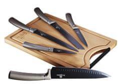 Berlingerhaus Zestaw noży z nieprzywierającą powierzchnią z deską do krojenia Carbon PRO Line 6 szt.
