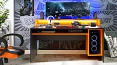 Nejlevnější nábytek Herní stůl ROLWAL typ 2, černý mat/oranžová
