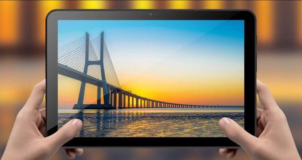 Tablet iGet SMART L203C smukły, kompaktowe rozmiary, duży wyświetlacz długa żywotność baterii Android 10 ekran IPS tylny i przedni aparat Bluetooth 4.2 Wifi OTG najnowsze LTE 4G 3G szybki internet GPS czujnik pozycji wysoka rozdzielczość ekranu podróżny tablet wideorozmowy duża pojemność baterii etui z klapką etui ochronne