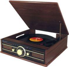 Soundmaster PL550BR, retro gramorádio s USB, hnědá