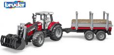 BRUDER 2046 Traktor Massey Ferguson z przyczepą do wywozu drewna