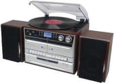 Soundmaster MCD5550DBR, retro Hi-Fi systém s DAB+ strieborná/hnedá