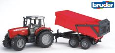 BRUDER 2045 Traktor Massey Ferguson z przyczepą