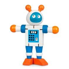 Drevený ohybný robot, bielo-modrý