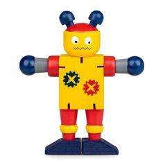 Drevený ohybný robot, žlto-červený