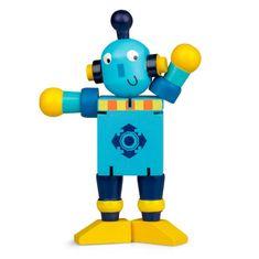 Drevený ohybný robot, modro-žltý