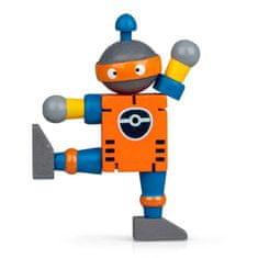 Drevený ohybný robot, oranžovo-modrý