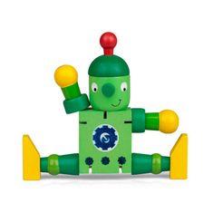 Drevený ohybný robot, zeleno-žltý