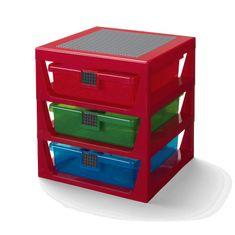 LEGO Storage organizér se třemi zásuvkami - červená