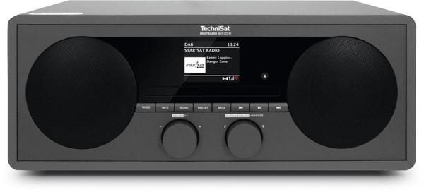 moderní mikrosystém technisat DIGITRADIO 451 CD IR dab fm tuner automatické vyhledávání stanic podsvícený displej předvolby 40 plus 40 hodiny datum budík odložené buzení snooze reproduktory integrované wifi technologie technisat connect aplikace