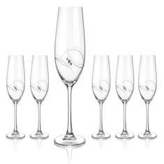 Diamante Atlantis poháre na šampanské a prosecco - sada 6 pohárov