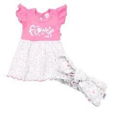 NEW BABY Dojčenské letné bavlnené šatôčky s čelenkou New Baby Happy Flower tmavo ružové 92 (18-24m) Ružová