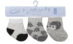 Just Too Cute Ježek in črte otroške vzorčaste nogavice, 3 kosi