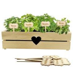 AMADEA Dřevěné zápichy - sada cedulek na bylinky, 12 kusů, výška 20 cm, český výrobek