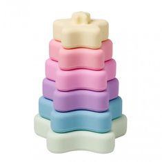 Saro Baby silikónová stohovacia hryzátka Rainbow