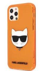 Karl Lagerfeld TPU Choupette Head Kryt pro iPhone 12/12 Pro 6.1 Fluo Orange KLHCP12MCHTRO
