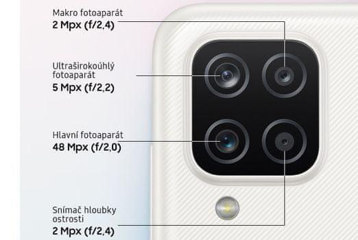 Samsung Galaxy A12 čtyřnásobný fotoaparát depth makro objektiv ultraširokoúhlý fotoaparát 48Mpx hlavní objektiv