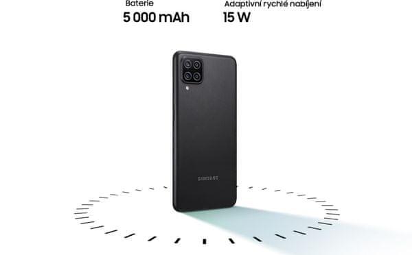 Samsung Galaxy A12 dlouhá výdrž baterie vysokokapacitní baterie rychlonabíjení 15W nabíjení