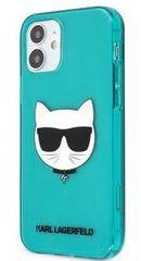 Karl Lagerfeld TPU Choupette Head Kryt pro iPhone 12 mini 5.4 Fluo Blue KLHCP12SCHTRB
